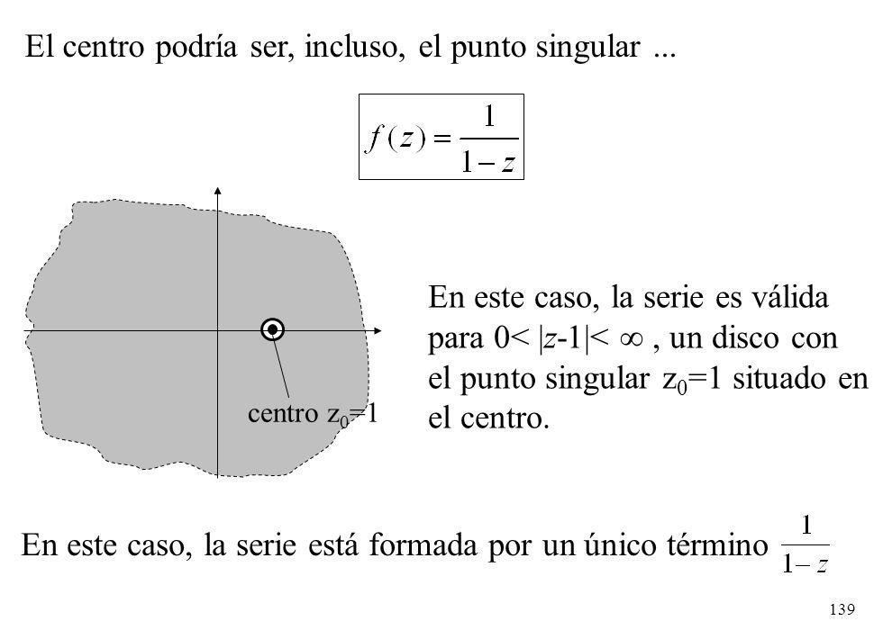 139 El centro podría ser, incluso, el punto singular... centro z 0 =1 En este caso, la serie es válida para 0< |z-1|<, un disco con el punto singular