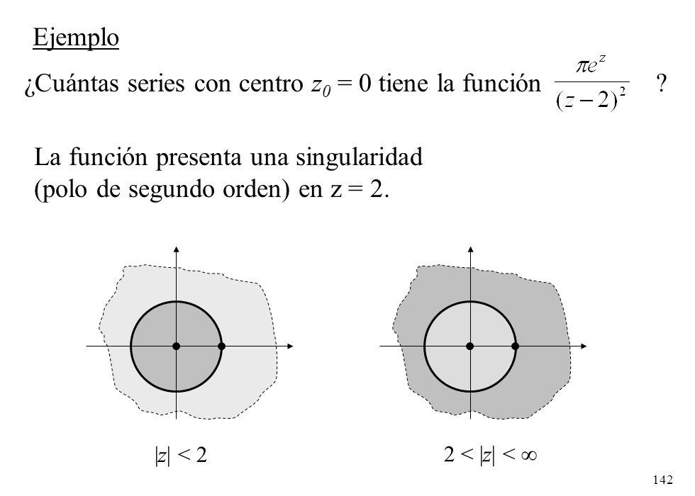 142 Ejemplo ¿Cuántas series con centro z 0 = 0 tiene la función ? La función presenta una singularidad (polo de segundo orden) en z = 2. |z| < 2|z| <