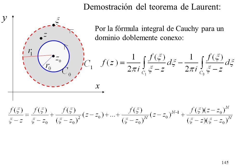 145 x y Demostración del teorema de Laurent: Por la fórmula integral de Cauchy para un dominio doblemente conexo:
