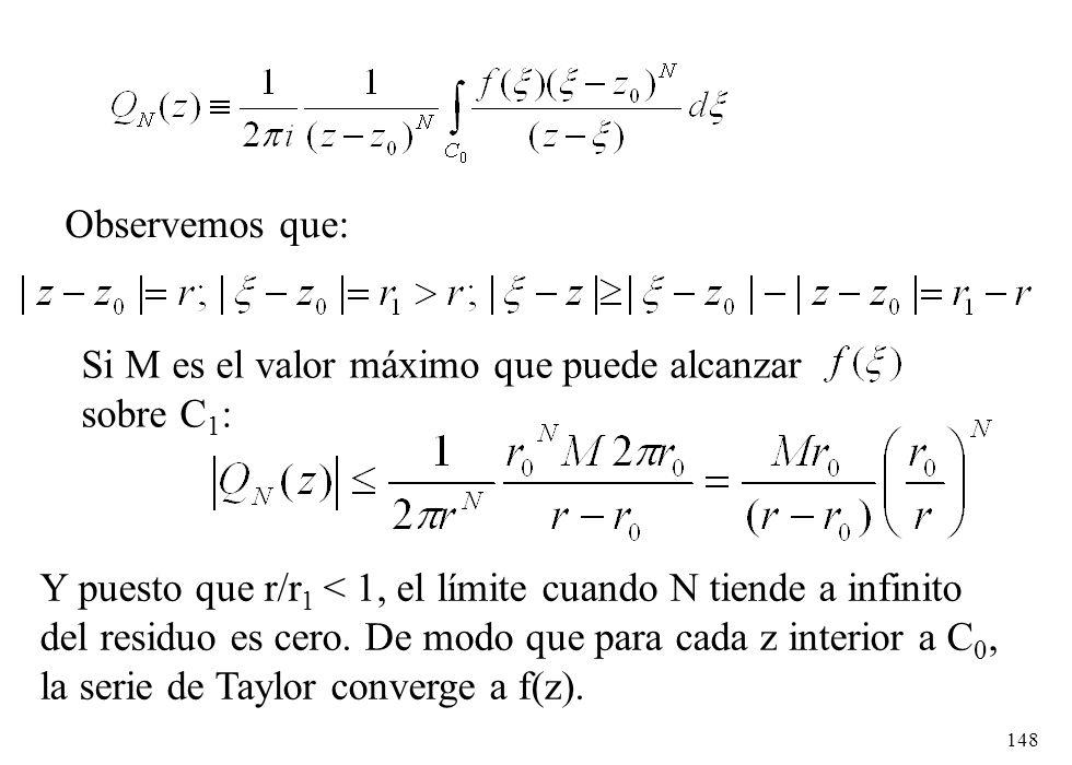 148 Observemos que: Si M es el valor máximo que puede alcanzar sobre C 1 : Y puesto que r/r 1 < 1, el límite cuando N tiende a infinito del residuo es