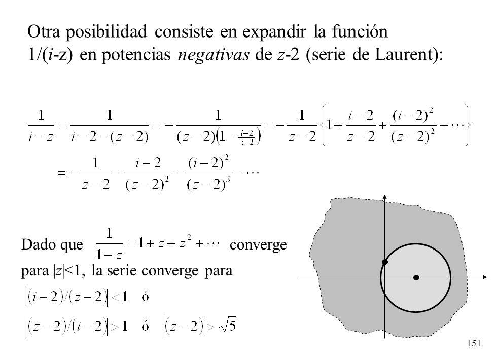 151 Otra posibilidad consiste en expandir la función 1/(i-z) en potencias negativas de z-2 (serie de Laurent): Dado que converge para |z|<1, la serie