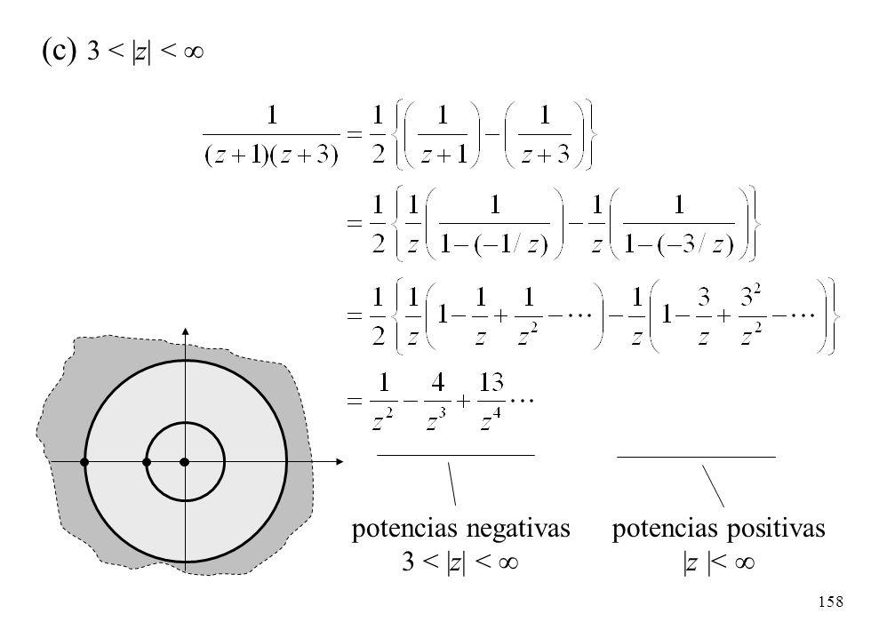 158 (c) 3 < |z| < potencias negativas 3 < |z| < potencias positivas |z |<