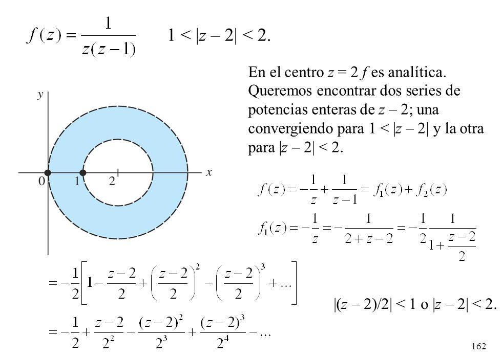 162 1 < |z – 2| < 2. En el centro z = 2 f es analítica. Queremos encontrar dos series de potencias enteras de z – 2; una convergiendo para 1 < |z – 2|