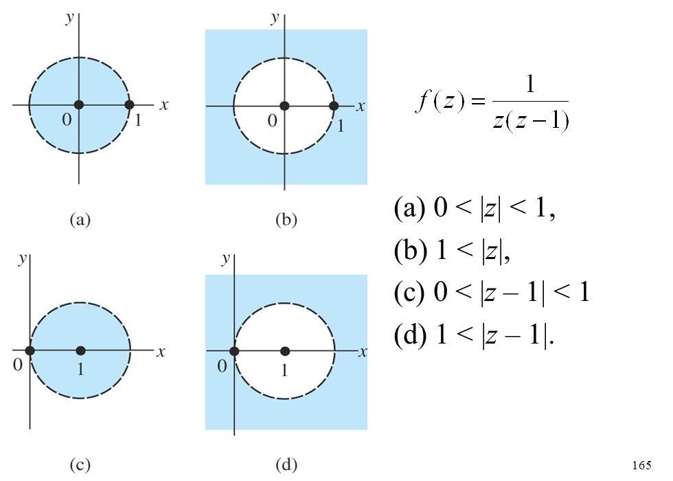 165 (a) 0 < |z| < 1, (b) 1 < |z|, (c) 0 < |z – 1| < 1 (d) 1 < |z – 1|.