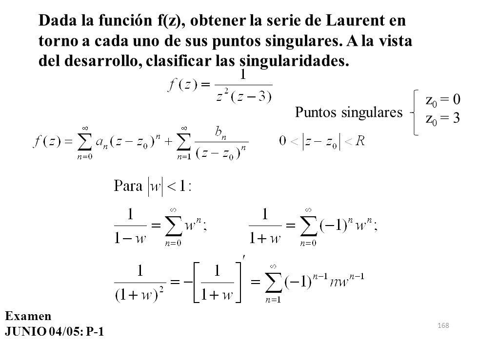168 Dada la función f(z), obtener la serie de Laurent en torno a cada uno de sus puntos singulares. A la vista del desarrollo, clasificar las singular
