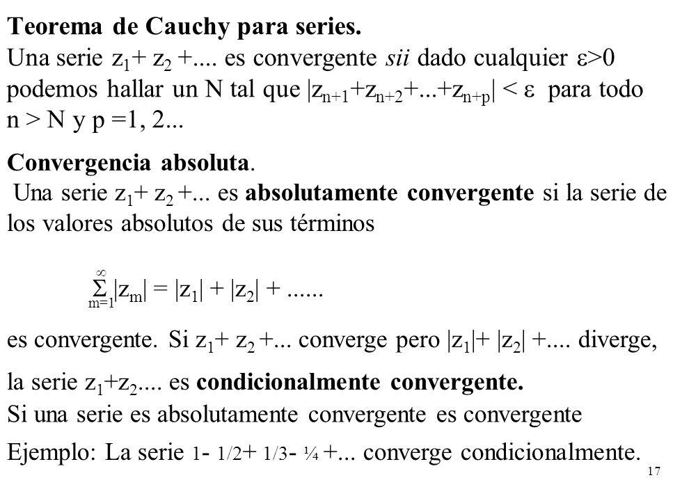 17 Teorema de Cauchy para series. Una serie z 1 + z 2 +.... es convergente sii dado cualquier >0 podemos hallar un N tal que |z n+1 +z n+2 +...+z n+p