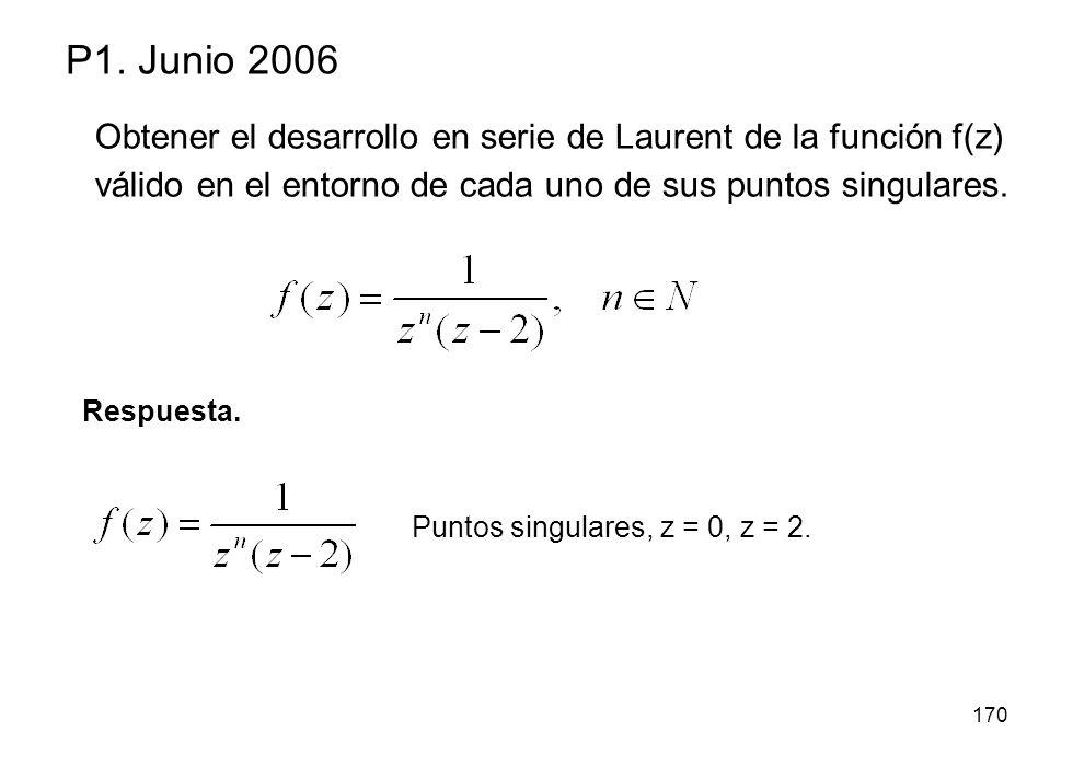 170 P1. Junio 2006 Respuesta. Puntos singulares, z = 0, z = 2. Obtener el desarrollo en serie de Laurent de la función f(z) válido en el entorno de ca