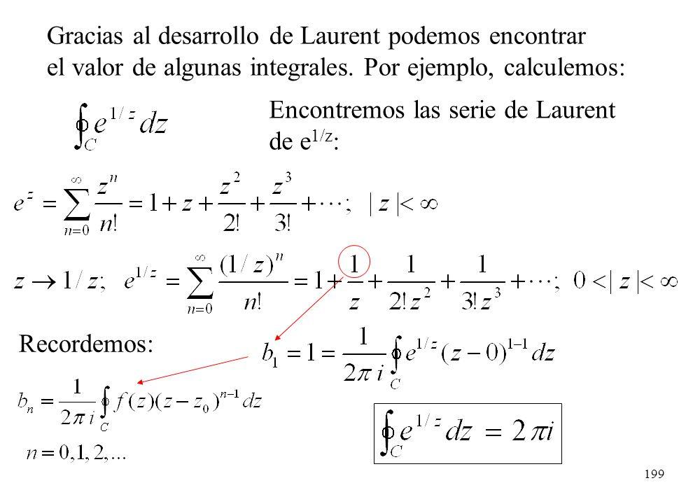 199 Gracias al desarrollo de Laurent podemos encontrar el valor de algunas integrales. Por ejemplo, calculemos: Encontremos las serie de Laurent de e