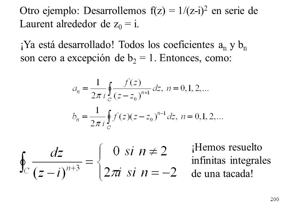 200 Otro ejemplo: Desarrollemos f(z) = 1/(z-i) 2 en serie de Laurent alrededor de z 0 = i. ¡Hemos resuelto infinitas integrales de una tacada! ¡Ya est