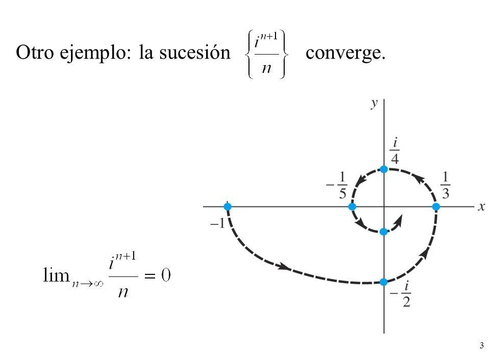 4 Una sucesión {z n } de números complejos z n = x n + iy n converge a c = a + i b sii la sucesión de partes reales {x n } converge a a y la sucesión de partes imaginarias {y n } converge a b.
