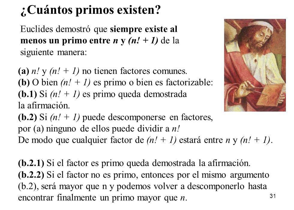 31 (a) n! y (n! + 1) no tienen factores comunes. (b) O bien (n! + 1) es primo o bien es factorizable: (b.1) Si (n! + 1) es primo queda demostrada la a