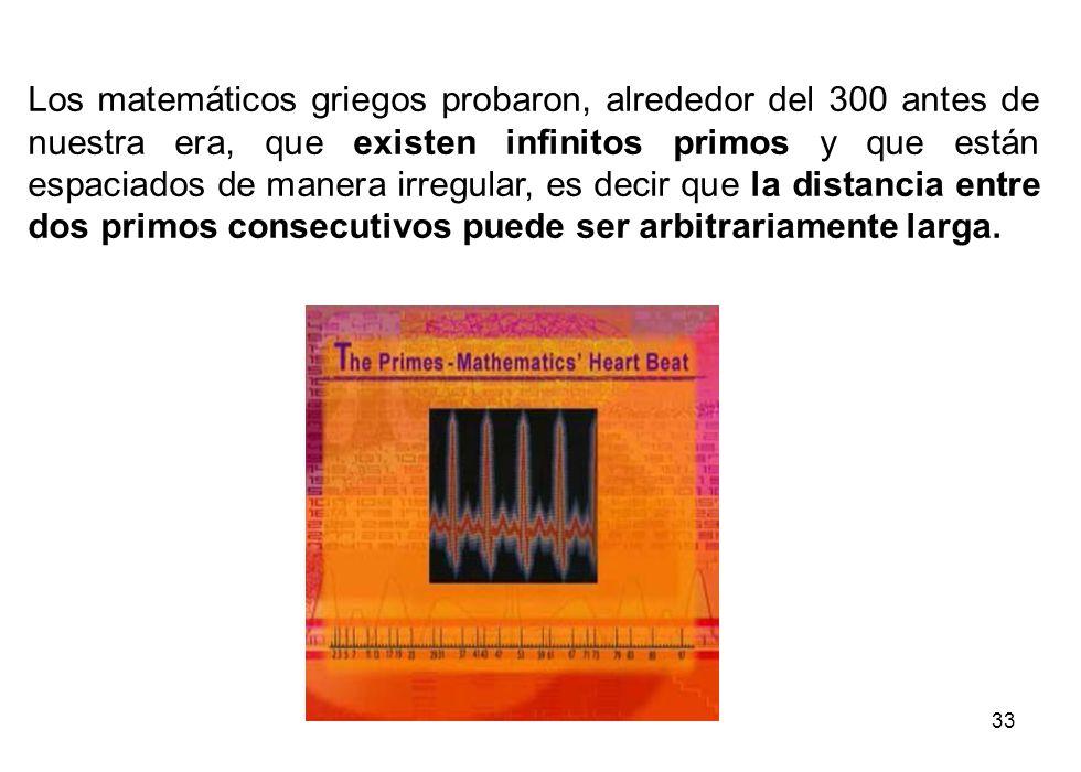 33 Los matemáticos griegos probaron, alrededor del 300 antes de nuestra era, que existen infinitos primos y que están espaciados de manera irregular,