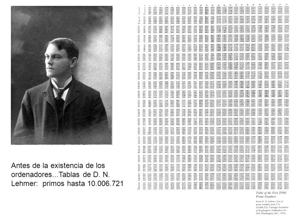 47 Antes de la existencia de los ordenadores...Tablas de D. N. Lehmer: primos hasta 10.006.721