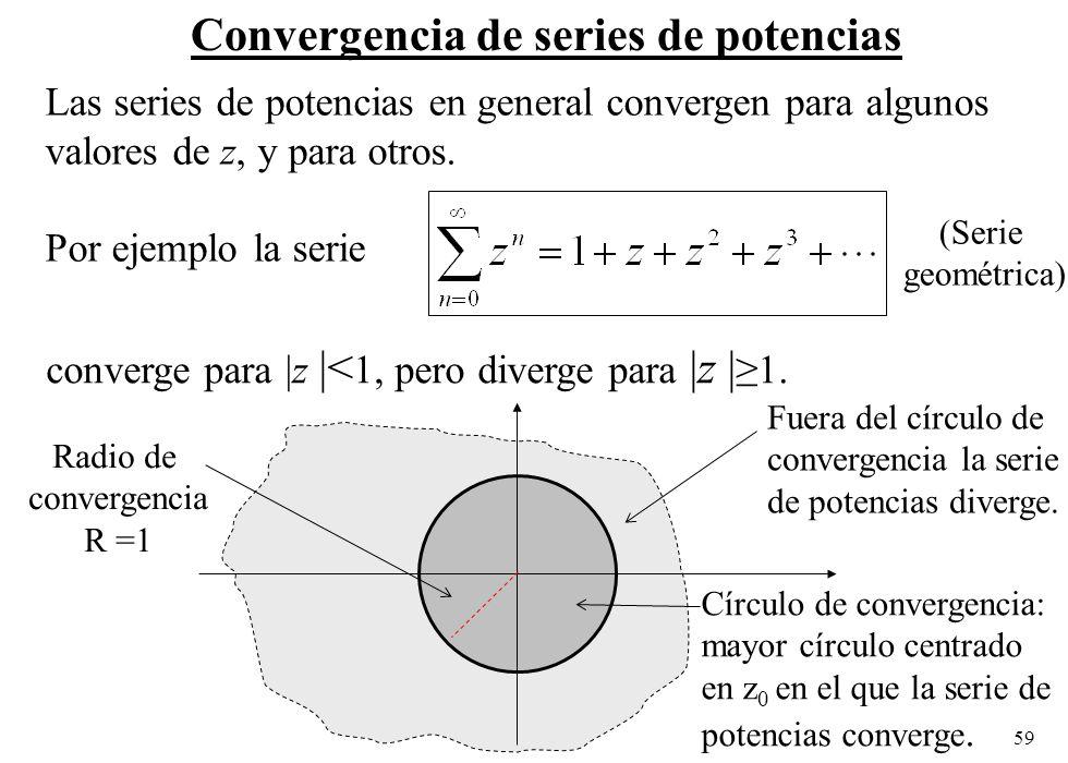 59 Convergencia de series de potencias Las series de potencias en general convergen para algunos valores de z, y para otros. Por ejemplo la serie conv