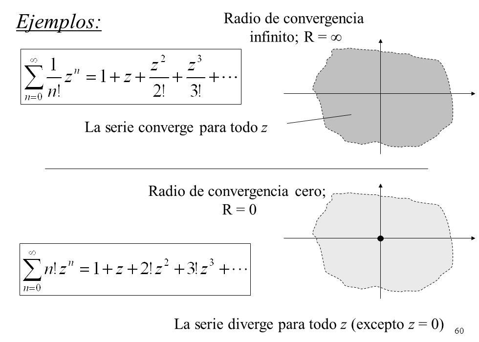 60 La serie diverge para todo z (excepto z = 0) Ejemplos: La serie converge para todo z Radio de convergencia infinito; R = Radio de convergencia cero