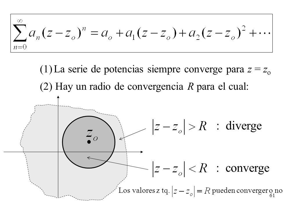 61 : converge (1)La serie de potencias siempre converge para z = z o (2) Hay un radio de convergencia R para el cual: : diverge Los valores z tq. pued