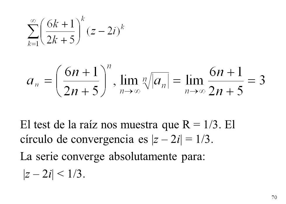 70 El test de la raíz nos muestra que R = 1/3. El círculo de convergencia es |z – 2i| = 1/3. La serie converge absolutamente para: |z – 2i| < 1/3.