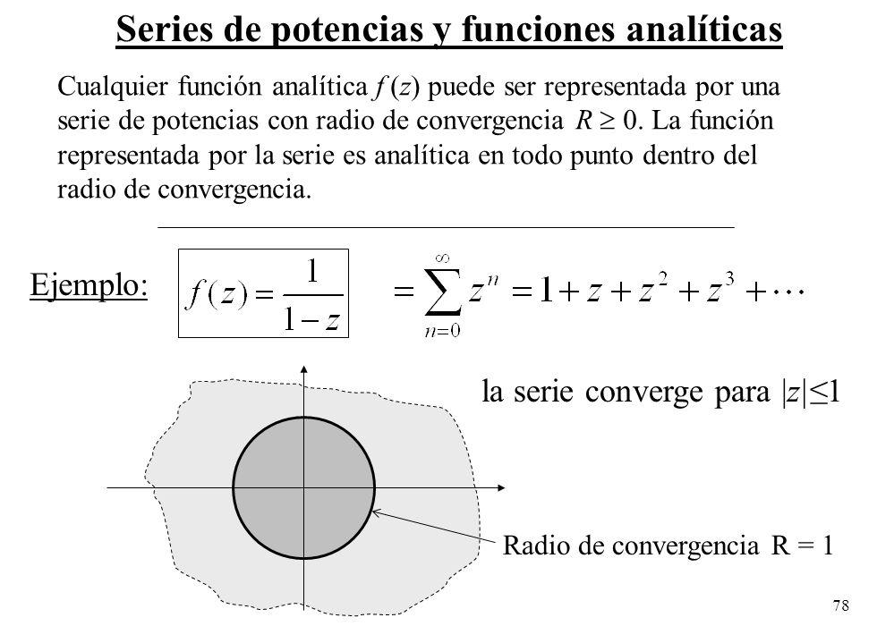 78 Series de potencias y funciones analíticas Cualquier función analítica f (z) puede ser representada por una serie de potencias con radio de converg