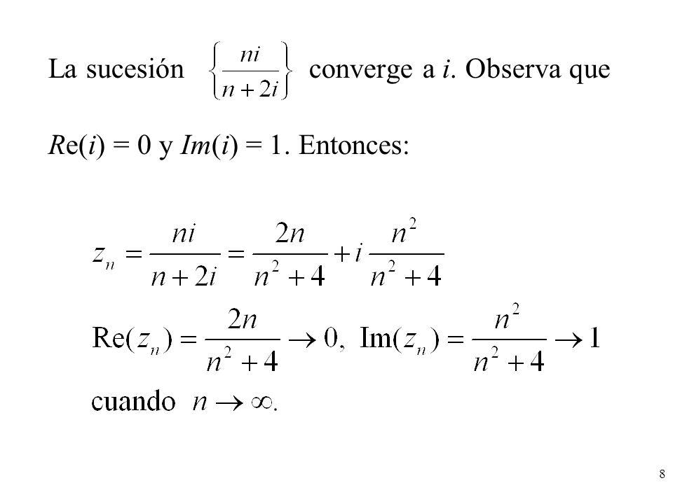 8 La sucesión converge a i. Observa que Re(i) = 0 y Im(i) = 1. Entonces: