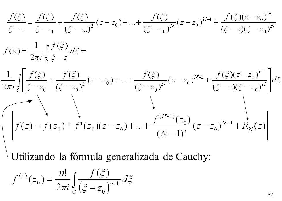 82 Utilizando la fórmula generalizada de Cauchy: