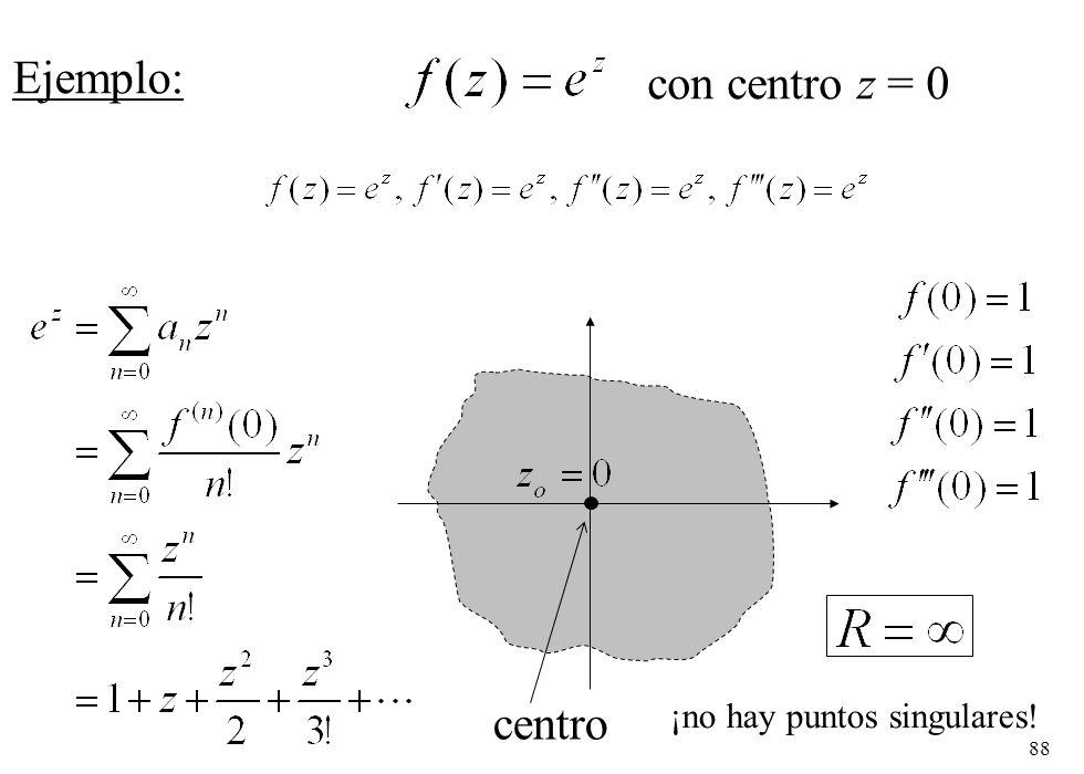 88 Ejemplo: con centro z = 0 centro ¡no hay puntos singulares!