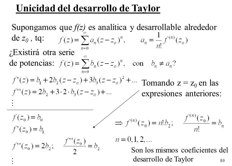 89 Unicidad del desarrollo de Taylor Supongamos que f(z) es analítica y desarrollable alrededor de z 0, tq: ¿Existirá otra serie de potencias: Tomando