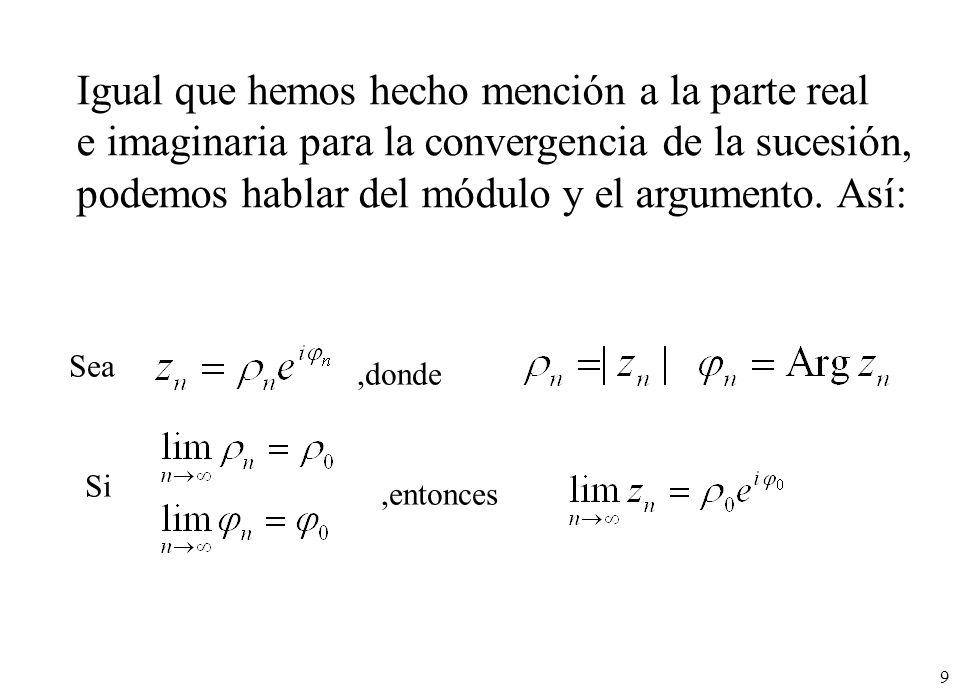 10 Sea por ejemplo la sucesión de términos: El módulo converge a: Y el argumento a: Por tanto la sucesión converge a: