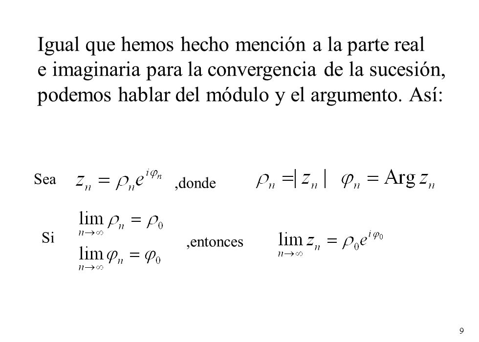 60 La serie diverge para todo z (excepto z = 0) Ejemplos: La serie converge para todo z Radio de convergencia infinito; R = Radio de convergencia cero; R = 0