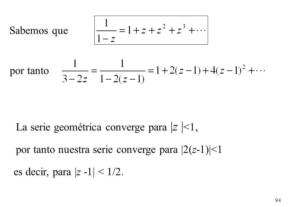 94 por tanto Sabemos que La serie geométrica converge para |z | <1, por tanto nuestra serie converge para |2(z-1)|<1 es decir, para |z -1| < 1/2.