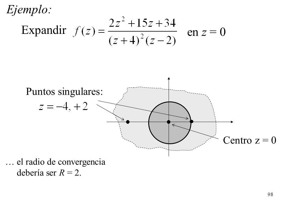 98 Ejemplo: Expandir en z = 0 Centro z = 0 Puntos singulares: … el radio de convergencia debería ser R = 2.