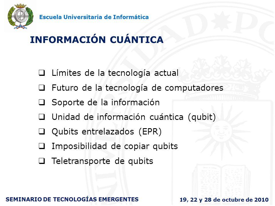 INFORMACIÓN CUÁNTICA Límites de la tecnología actual Futuro de la tecnología de computadores Soporte de la información Unidad de información cuántica