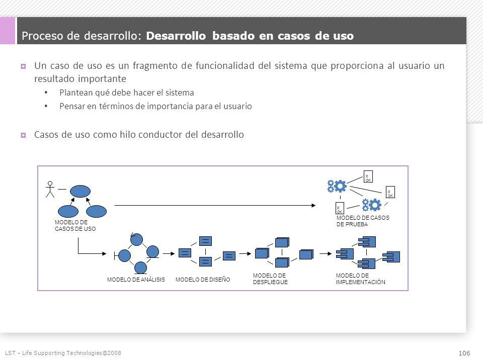 Proceso de desarrollo: Desarrollo basado en casos de uso Un caso de uso es un fragmento de funcionalidad del sistema que proporciona al usuario un res