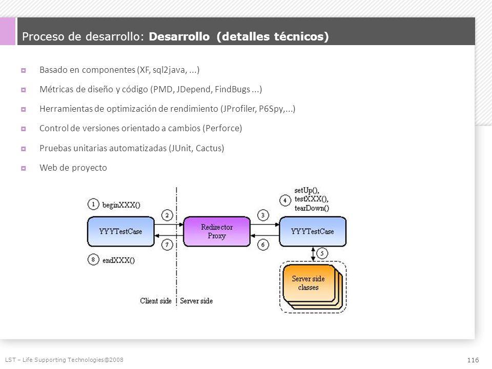 Proceso de desarrollo: Desarrollo (detalles técnicos) Basado en componentes (XF, sql2java,...) Métricas de diseño y código (PMD, JDepend, FindBugs...)