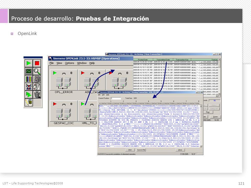 Proceso de desarrollo: Pruebas de Integración OpenLink LST – Life Supporting Technologies@2008 121