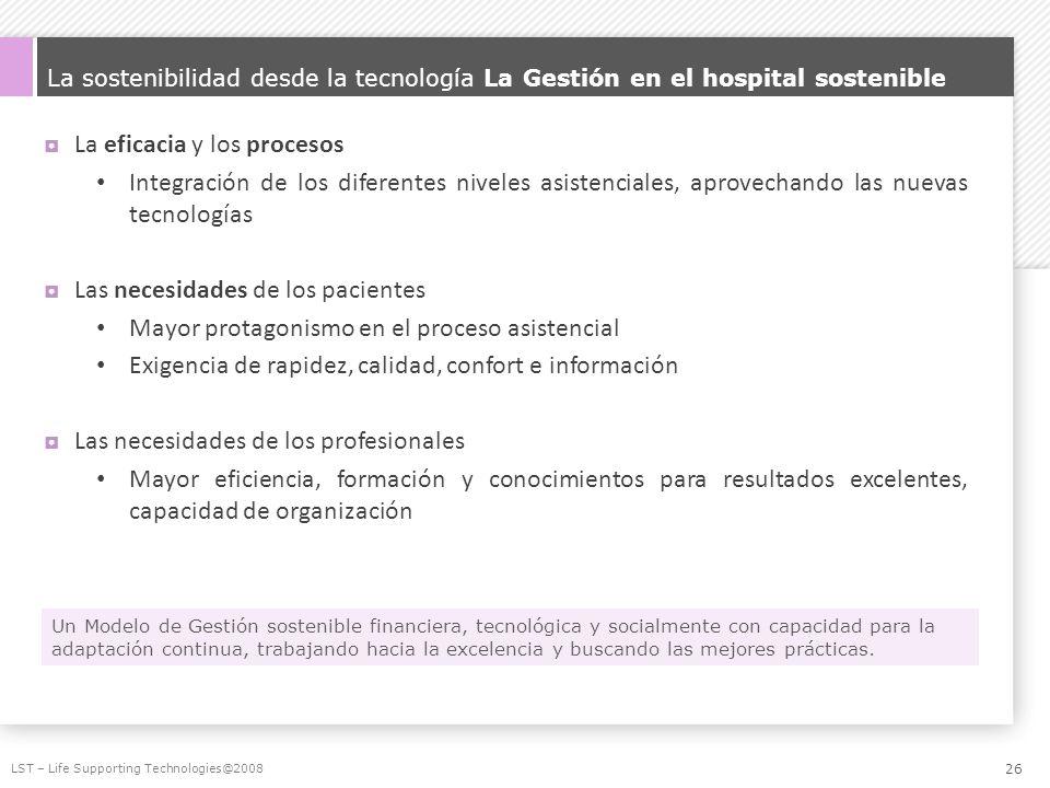 La sostenibilidad desde la tecnología La Gestión en el hospital sostenible La eficacia y los procesos Integración de los diferentes niveles asistencia