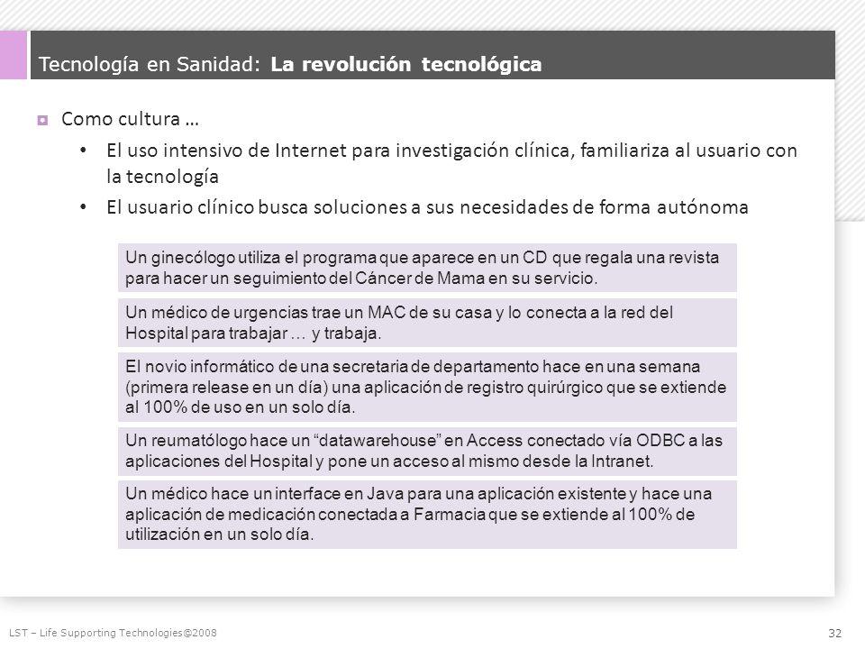 Tecnología en Sanidad: La revolución tecnológica Como cultura … El uso intensivo de Internet para investigación clínica, familiariza al usuario con la
