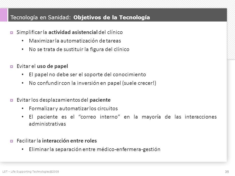 Tecnología en Sanidad: Objetivos de la Tecnología Simplificar la actividad asistencial del clínico Maximizar la automatización de tareas No se trata d