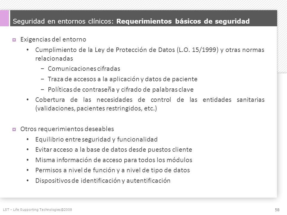 Seguridad en entornos clínicos: Requerimientos básicos de seguridad Exigencias del entorno Cumplimiento de la Ley de Protección de Datos (L.O. 15/1999
