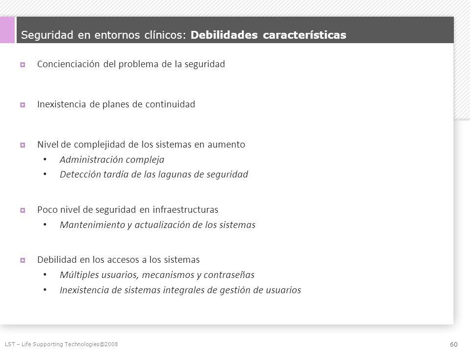 Seguridad en entornos clínicos: Debilidades características Concienciación del problema de la seguridad Inexistencia de planes de continuidad Nivel de