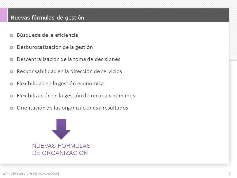 Nuevas fórmulas de gestión Búsqueda de la eficiencia Desburocatización de la gestión Descentralización de la toma de decisiones Responsabilidad en la