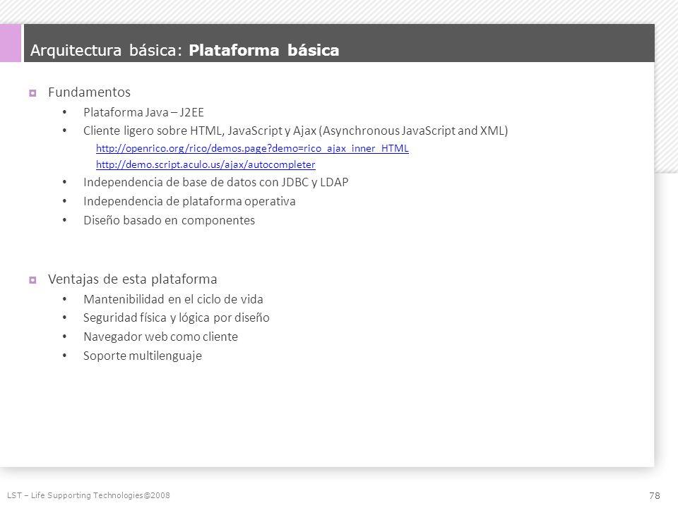 Arquitectura básica: Plataforma básica Fundamentos Plataforma Java – J2EE Cliente ligero sobre HTML, JavaScript y Ajax (Asynchronous JavaScript and XM