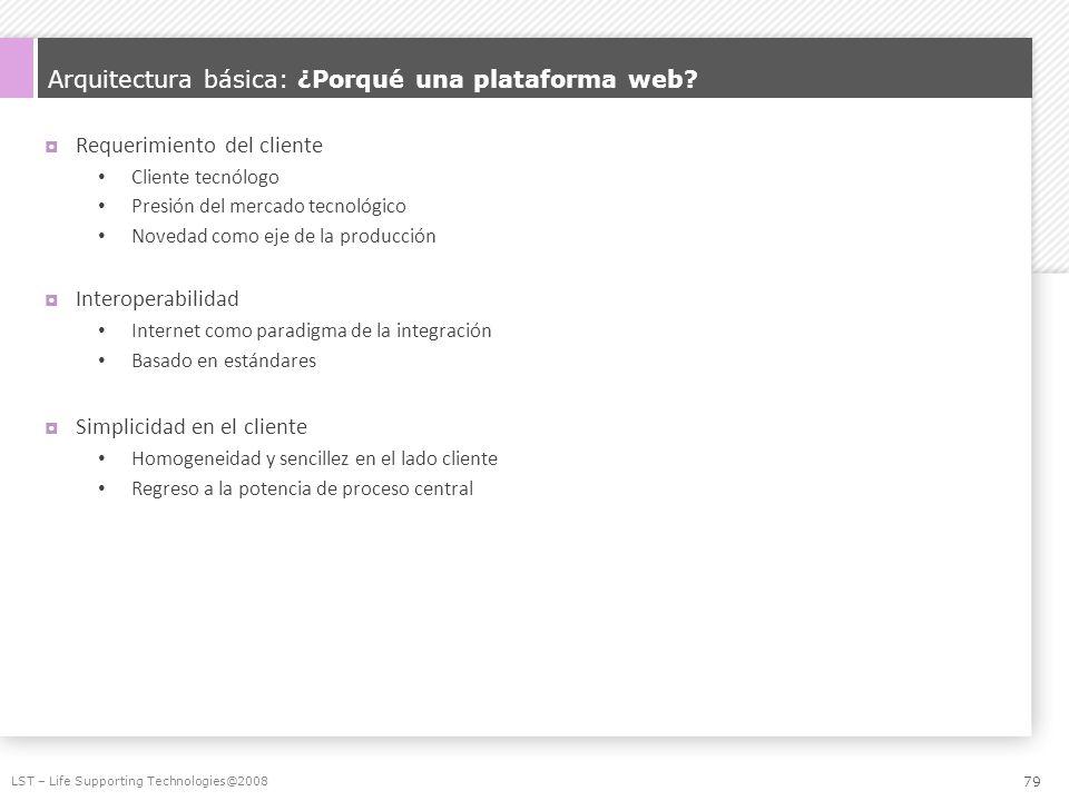 Arquitectura básica: ¿Porqué una plataforma web? Requerimiento del cliente Cliente tecnólogo Presión del mercado tecnológico Novedad como eje de la pr