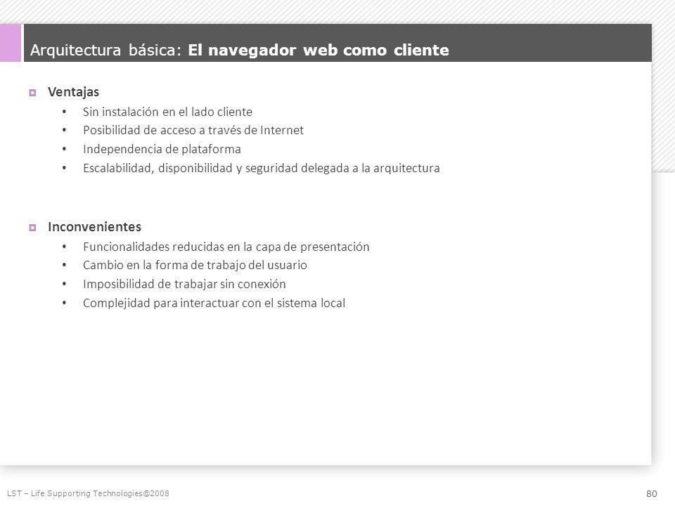 Arquitectura básica: El navegador web como cliente Ventajas Sin instalación en el lado cliente Posibilidad de acceso a través de Internet Independenci