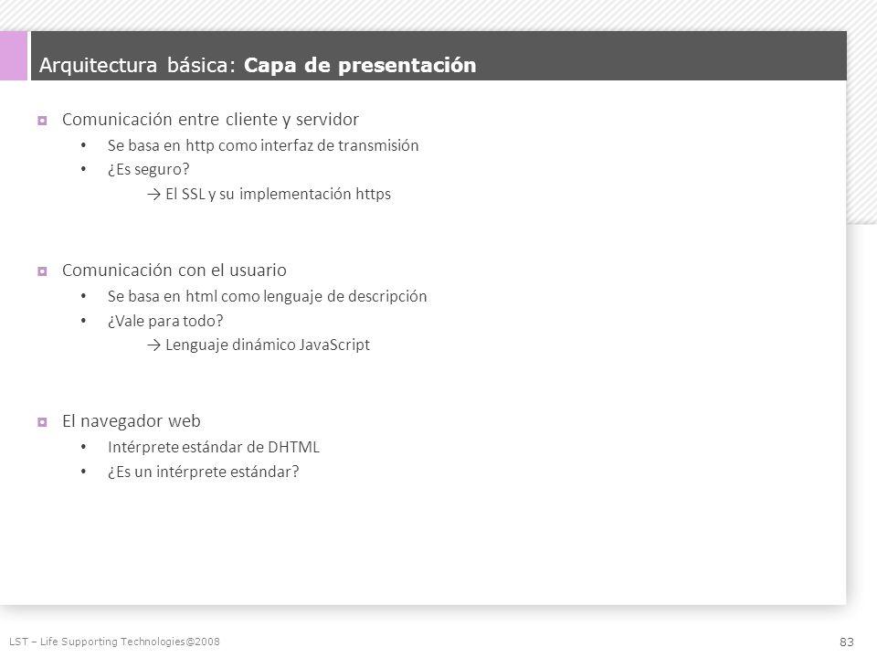 Arquitectura básica: Capa de presentación Comunicación entre cliente y servidor Se basa en http como interfaz de transmisión ¿Es seguro? El SSL y su i