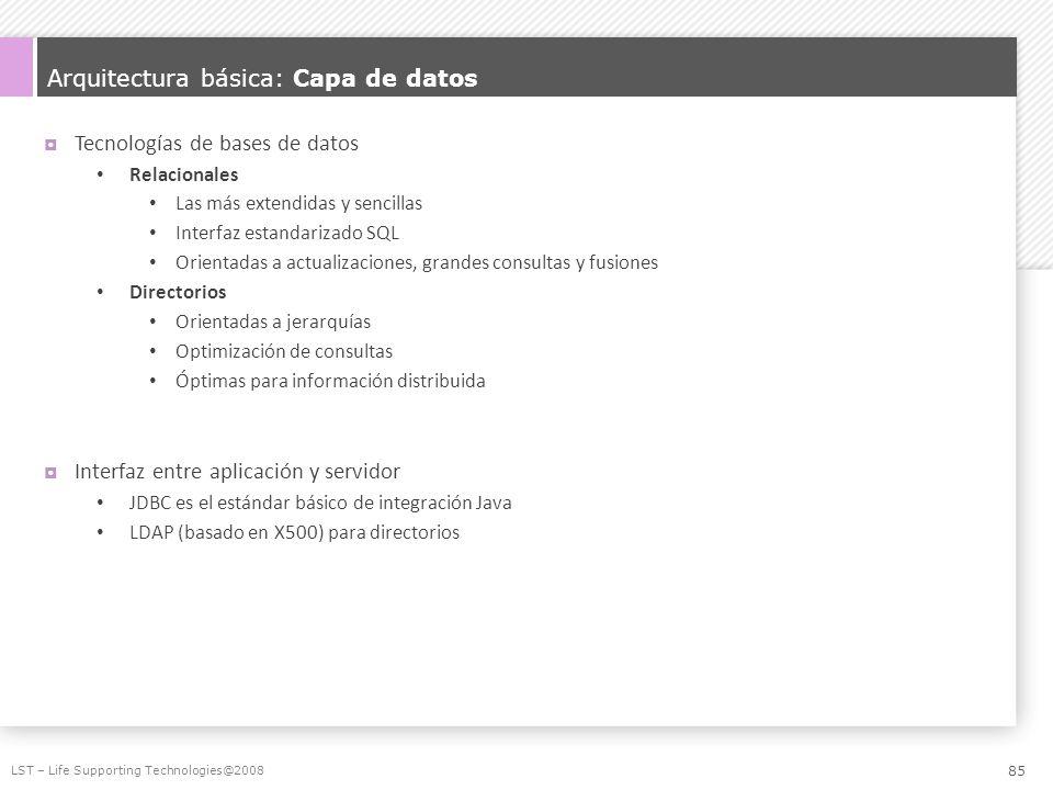 Arquitectura básica: Capa de datos Tecnologías de bases de datos Relacionales Las más extendidas y sencillas Interfaz estandarizado SQL Orientadas a a