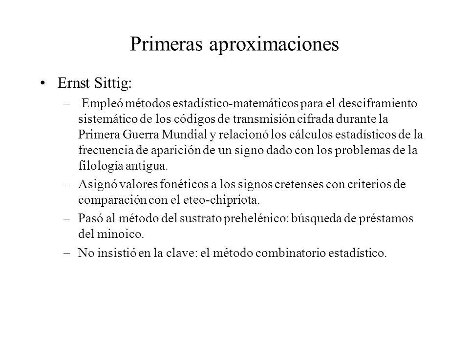 Primeras aproximaciones Ernst Sittig: – Empleó métodos estadístico-matemáticos para el desciframiento sistemático de los códigos de transmisión cifrad