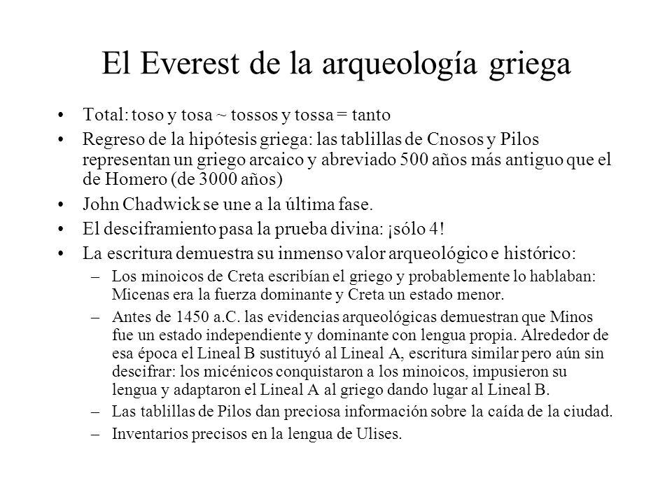 El Everest de la arqueología griega Total: toso y tosa ~ tossos y tossa = tanto Regreso de la hipótesis griega: las tablillas de Cnosos y Pilos repres