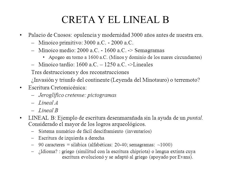 CRETA Y EL LINEAL B Palacio de Cnosos: opulencia y modernidad 3000 años antes de nuestra era. –Minoico primitivo: 3000 a.C. - 2000 a.C. –Minoico medio