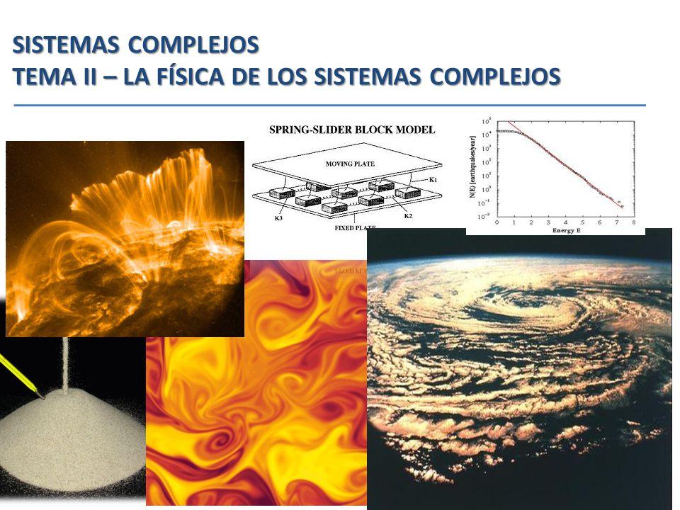 SISTEMAS COMPLEJOS TEMA II – LA FÍSICA DE LOS SISTEMAS COMPLEJOS