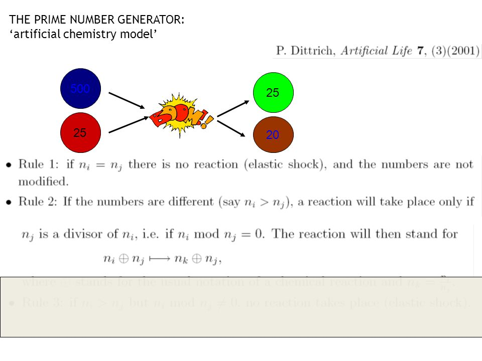 THE PRIME NUMBER GENERATOR: artificial chemistry model Positive reactions tend to produce prime numbers 500 26 500